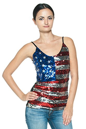 Women's Red Blue Silver Sequin Rock & Roll American Flag USA Glam Cami Blouse (S/M)