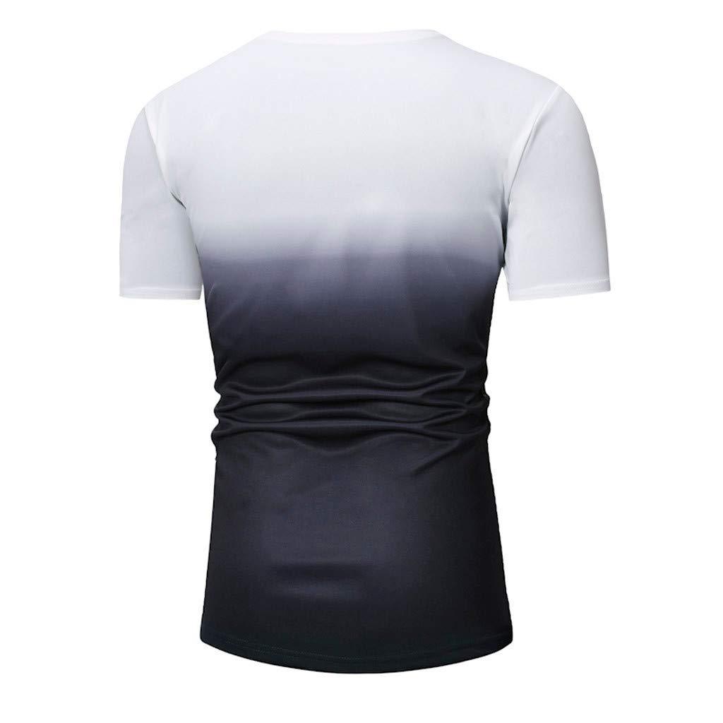 KINGOL Men Fashion Summer Patchwork Graduated Short Sleeved Gradient T-Shirt Top Blouse