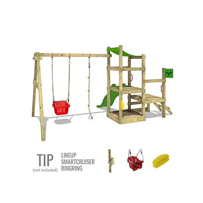 51J905aADNL XXL Parque infantil con 2 niveles de juego, columpio, tobogán, cajón de arena y escalera para trepar Viga de columpio de 9x9cm, postes verticales de 7x7cm - Made in Germany - Calidad-y- seguridad verificadas Instrucciones de montaje detalladas para un montaje fácil - Cajón de arena integrado XXL