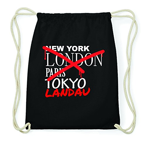 JOllify LANDAU Hipster Turnbeutel Tasche Rucksack aus Baumwolle - Farbe: schwarz Design: Grafitti