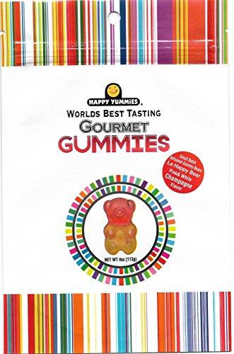 Happy Yummies Worlds Best Tasting Gourmet Gummies Small Batch Artisanal Pink & White Champagne Flavor Gummy Bears 4oz