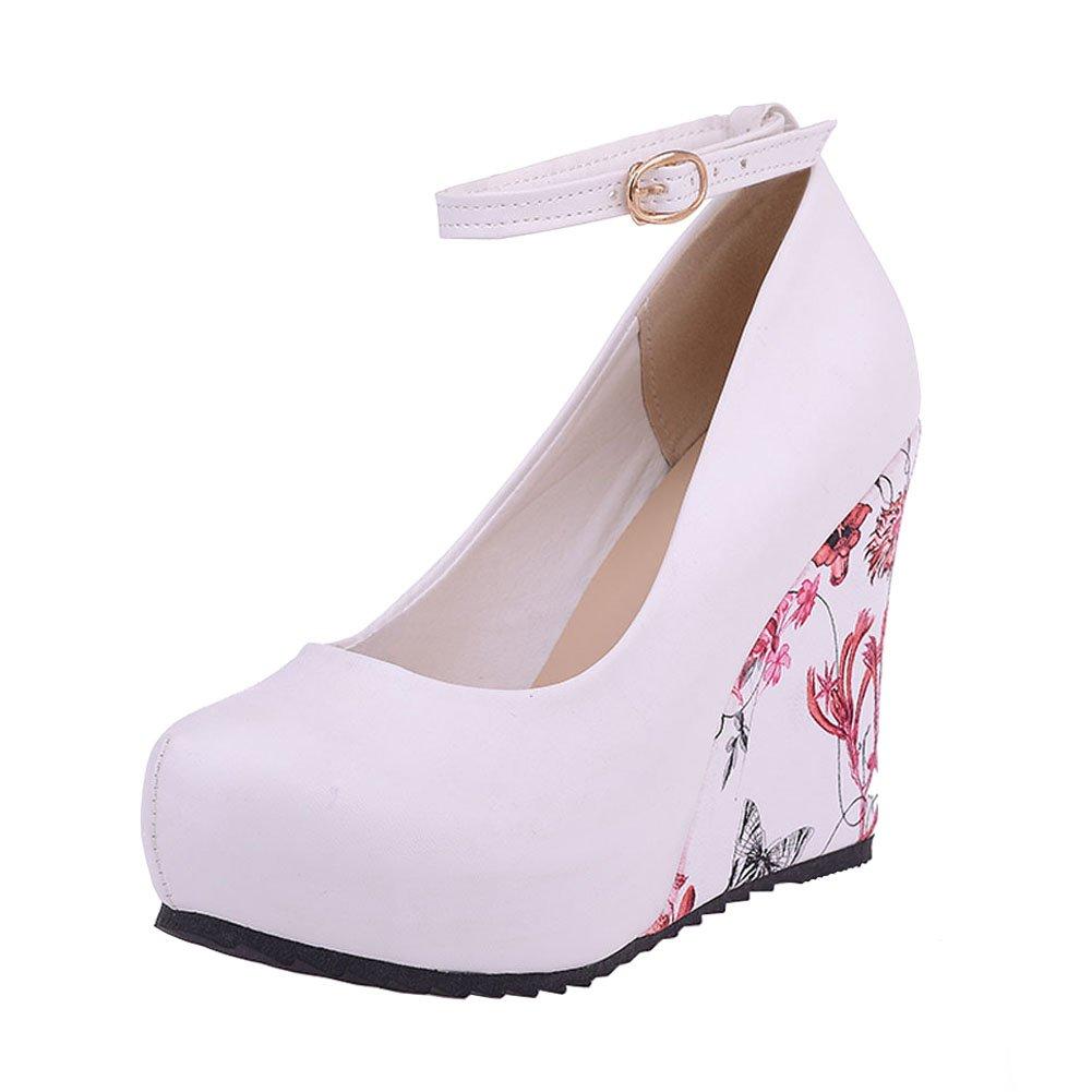 fereshte Women's Ankle Strap Round-Toe Platform Wedge Heel EU42 Dress Pump Shoes EU42 Heel - US 9.5|White B077YTS79P 31d0ce