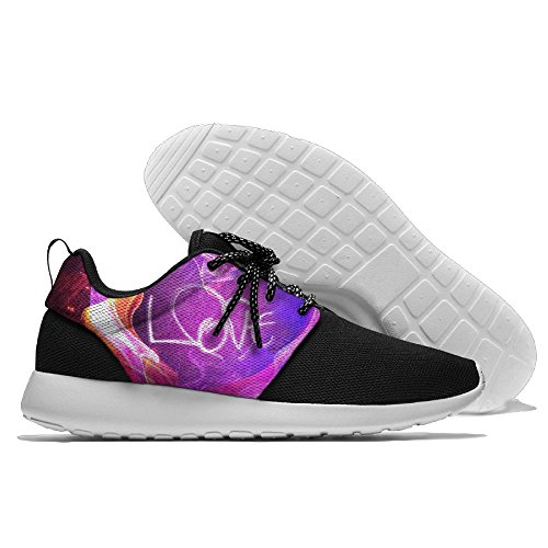 Colorful Fire Smoke Heart Men's Mesh Running Shoes Sneakers Casual Athletic Workout Fitness Sports Shoes Trainers 46 (Smoke Sport Sandals)