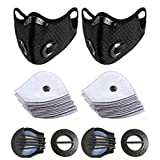 2pcs Bike Face Cover with 10pcs Filter Anti Dust Safety Men Women Pollution Anti-Fog Running Cycling Reusable Respirator Activated Carbon