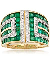 Certified 2.90 ct. t.w. Emerald and .37 ct. t.w. Diamond Geometric Ring in 18kt Gold
