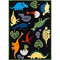 Momeni Rugs LMOJULMJ18BLK3050 Lil Mo Whimsy Collection, Kids Themed Hand Carved & Tufted Area Rug, 3 x 5, Multicolor Dinosaurs on Black