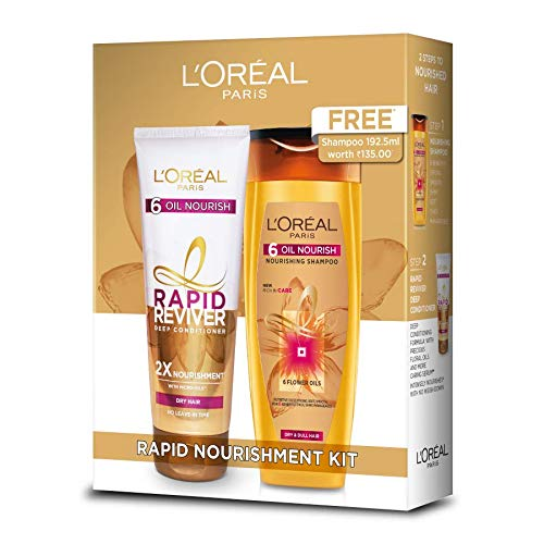 L'Oreal Paris Rapid Reviver Conditioner, 180 ml with 6 Oil Nourish Shampoo, 192.5 ml