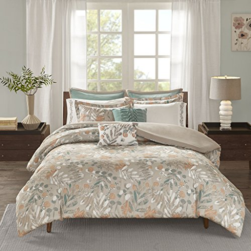JLA Home INC Madison Park Fay Duvet Cover Full/Queen Size - Taupe, Floral Leaf Duvet Cover Set – 9 Piece – 100% Cotton Sateen Light Weight Bed Comforter Covers durable service
