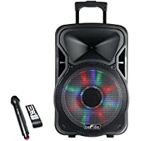 beFree Sound BFS-4400 Woofer Portable Bluetooth Powered PA Tailgate Party Rechargeable Speaker With Illuminating Lights