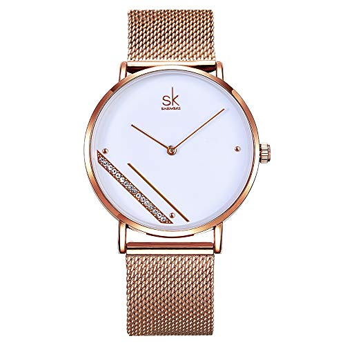 SK Shengke Mesh Band Womens Diamond Watches Waterproof Women Simple Style Fashion Wrist Watches for Women Female Girl Ladies Wrist Quartz Watches for Women On Sale (SK0106 White)