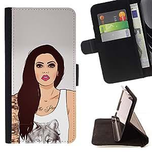 Momo Phone Case / Flip Funda de Cuero Case Cover - Labios de la mujer de la muchacha del arte del lobo de la tinta del tatuaje de color rosa - LG G4 Stylus H540