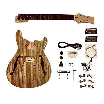 Gdprzs.mahogany Semi Cuerpo Hueco con Zebrawood Chapa con Blanco Ribeteado en Cuerpo Guitarra Eléctrica
