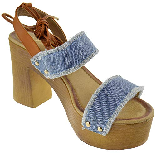 (Forever Thrill 15 Womens Chunky Heel Strappy Double Band Open Toe Faux Wood Platform Sandals Light Blue Jean 7)