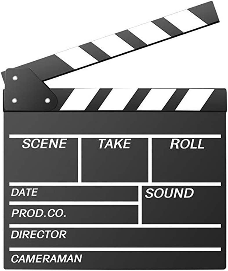 "Movie Film Clap Board, Hollywood Clapper Board Wooden Film Movie Clapboard Accessory with Black & White, 12""x11"" Give Away White Erasable Pen"