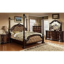 Esofastore Bedroom Furniture Luxurious Formal Traditional Cherry Finish Wooden Queen Size Bed w Canopy Posts Dresser Mirror Nightstand 4pc Set Dark Brown Leatherette Tufted HB