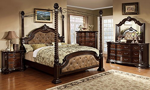 Monte Vista Bedroom Furniture Luxurious Formal Traditional Cherry Finish Wooden California King Size Bed w Canopy Posts Dresser Mirror Nightstand 4pc Set Dark Brown Leatherette Tufted (California King Cherry Dresser)