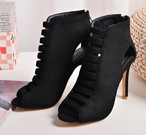 Easemax Dames Sexy Hoge Top Uitsparing Faux Suede Peep Toe Hoge Stiletto Hak Zip-up Boot Sandalen Zwart