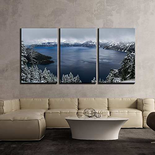 vas Wall Art - Winter Landscape with Panorama of Mountain and Lake in Cloudy Day - Modern Home Decor Stretched and Framed Ready to Hang - 16