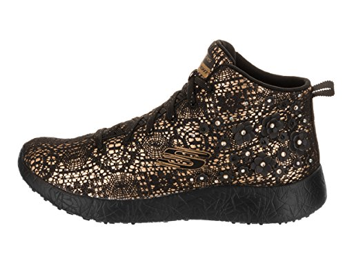 Stars Black Gold Zapatos Top Seeing High con Cordones Mujer SkechersBurst fH5Tv