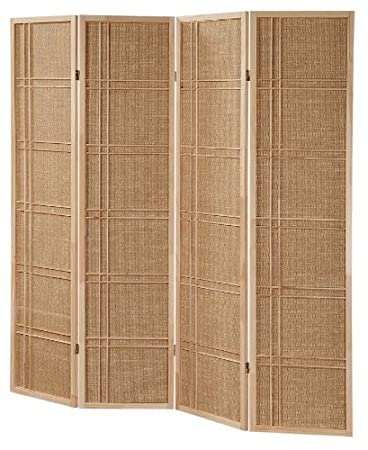 3 And 4 Panel Fabric In Lay Wooden Screen Room Divider Natural Finish