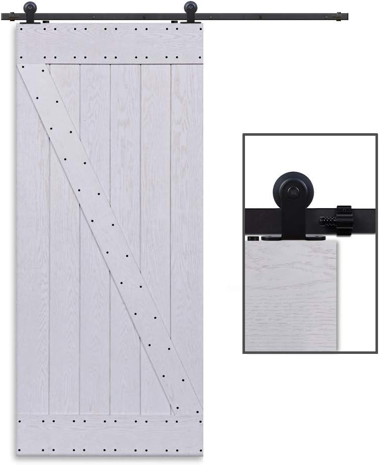 CCJH 6FT-183cm Herraje para Puerta Corredera Kit de Accesorios para Puertas Correderas Rueda Riel Juego para Una Puerta de Madera: Amazon.es: Bricolaje y herramientas