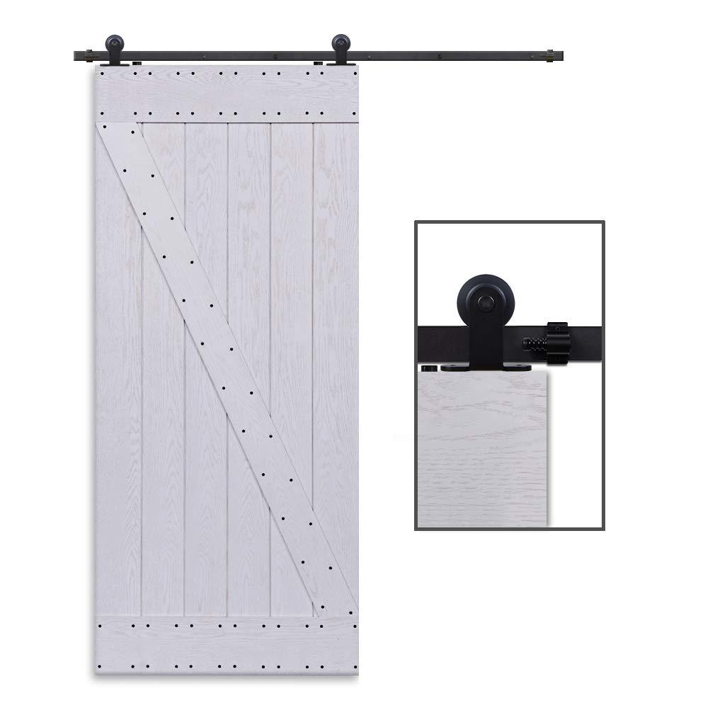 CCJH 7FT-214cm Retro Corredizo de Madera Granero Puerta Hardware Kit Armario Corredizo de la Riel Colgadores de Rueda para una sola Puerta T Shaped