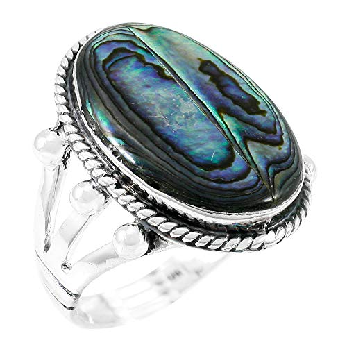 Abalone Ring Sterling Silver 925 Genuine Paua Shell Size 6 to 11 (Abalone Shell) (9) (Genuine Shell Silver)