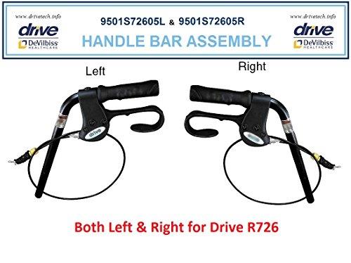 Left & Right Handle Bar Assy. Drive Model R726, R728, RTL728 (includes brake, grip & handle bar)