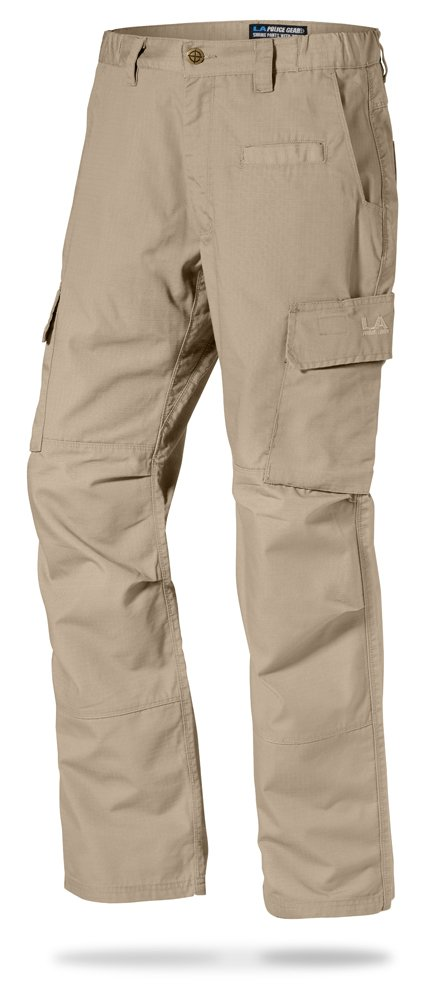 LA Police Gear Mens Urban Ops Tactical Cargo Pants - Elastic WB - YKK Zipper - Khaki - 36 x 32