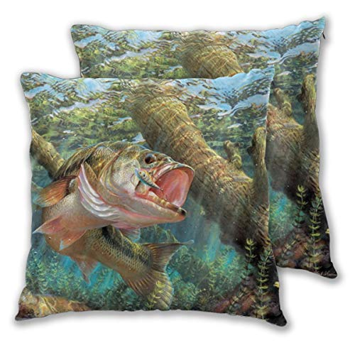 Shopaholics Store Throw Pillow Case Square Set of 2 for Office Decor Portable with Printed Largemouth Bass Fish -