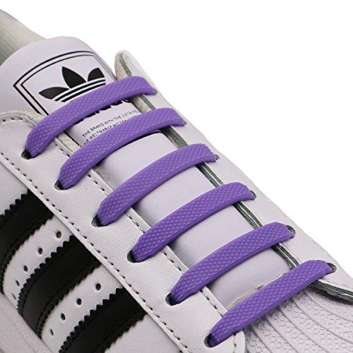 Orange Purple Sneakers - INMAKER No Tie Shoelaces for Adults, Elastic Shoe Laces for Sneakers, Purple