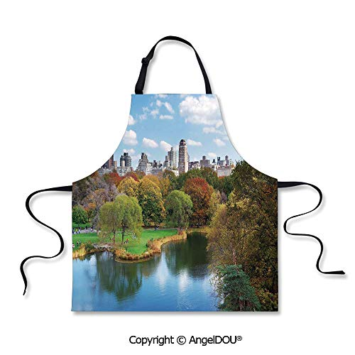 SCOXIXI Kitchen Bib Apron with Adjustable Neck Central Park in Autumn with Lake Trees and Manhattan USA American Nature Image for Grill BBQ Cooking Cosplay Party.