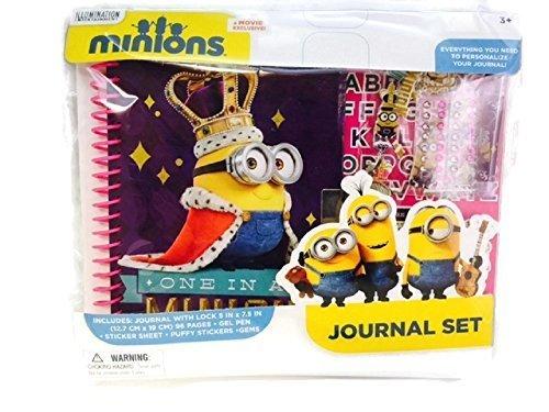 Minions Journal Set Stickers Gems Lock Key Gel Pen Despicable Me
