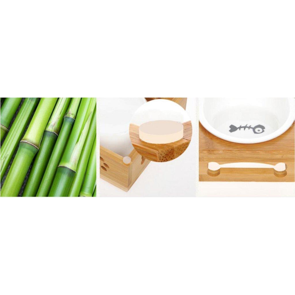 Xuan - worth having Ciotola per alimenti per animali animali animali domestici Doppio cibo per cani in feltro di bambù in acciaio inossidabile per piatti in stile nordico ( Coloreee   D , dimensioni   M ) | Regalo ideale per tutte le occasioni  | Consegna ragione f852c6