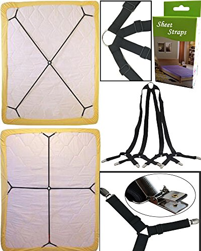 Discover Bargain Sheet Bed Suspenders Adjustable Crisscross Fitted Sheet Band Straps Grippers Adjust...