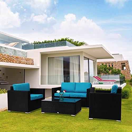 Kinbor New 4 PCs Rattan Patio Outdoor Furniture Set Garden Lawn Sofa Sectional Set ()