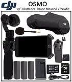 DJI OSMO Starter Bundle: DJI Osmo Handheld 4K Camera and 3-Axis Gimbal + 3 DJI Osmo Intelligent Batteries + DJI Osmo Phone Holder + DJI FlexiMic + SONY 32GB microSD Memory Card