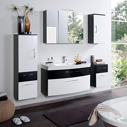 Badmöbel Set Badezimmermöbel PARIS Komplett Set Waschbeckenschrank mit Waschtisch und beleuchtetem Spiegelschrank LED in Anthrazit Hochglanz Weiß