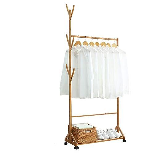 Burro Perchero De Pie con Ruedas Bambú Modernos Ganchos Sólidos Fácil Ensamblar, para Ropa Gorros Bolsas, Color De Madera,60CM