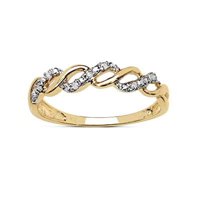 a298cd71d0 The Diamond Ring Collection: Beautiful 9CT Gold 0.05CT Diamond 3 Row on the  Twist