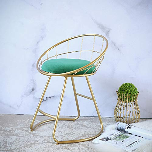 LifeX Nordic Gold Iron Art Makeup Stool Spray Paint Chair Luxury Round Sofa Stool Solid Color Footstool Hall Entryway Change Shoe Bench Dining Seat Adult Bedside Stool (Color : Malachite Green) ()