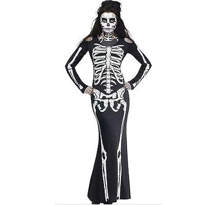 Halloween Disfraz para Mujer, Esqueleto Fantasma Vestidos Largos Mangas Largas Cuello Redondo Casual Maxi Vestidos Ajustados Fiesta para Carnaval Clubwear Festival RISTHY: Ropa y accesorios