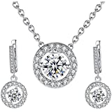 Jewelry Set- Morenitor[TM] White Gold Plated Gorgeous Crystal Necklace Earrings Set (Crystal Silver)