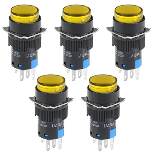 Mm Led 16 24v (uxcell 5 Pcs 16mm Momentary Push Button Switch Yellow LED Light Round Button 1 NO 1 NC Light 24V)