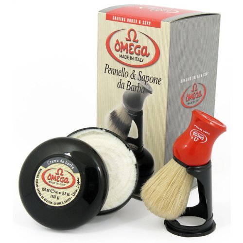 Omega 46065 Shaving Brush Set - Pure Bristle Shaving Brush, Stand, and 150 Milliliter Classic Shaving Cream with Eucalyptus - Shaving Bristle Set