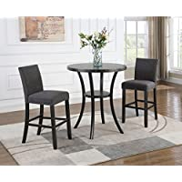 Roundhill Furniture P164GY Biony 3-Piece 36 Round Espresso Bar Table with Nail Head Stools, Gray