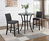 Roundhill Furniture P164GY Biony 3-Piece Round Espresso Bar Table with Nail Head Stools, Gray