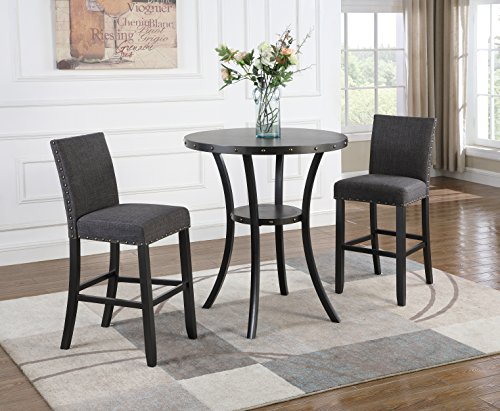 Roundhill Furniture P164GY Biony 3-Piece 36