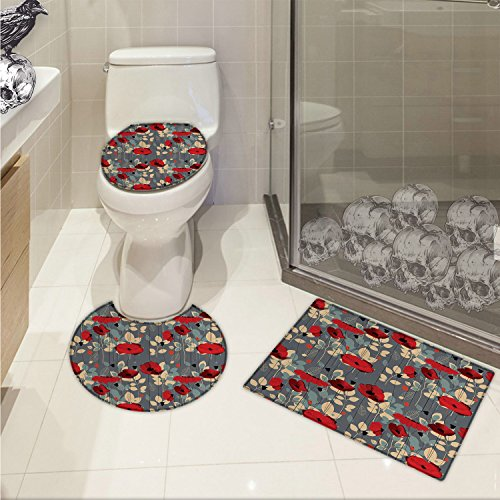 Poppies Modern Printed (Poppy Printed Abstraction of a Growing Floral Garden Leaves Botanical Modern Nature Display 3 Piece Toilet Cover set Grey Red Beige)