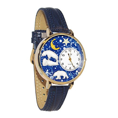 Whimsical Watches Unisex G0150002 Polar Bear Navy Blue Leather Watch (Oval Italian Charm Watch)